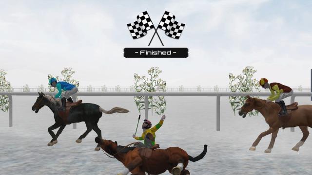 青ゲージが無くなると馬と騎手は脱力し、その場に倒れます。これぞ人馬一体